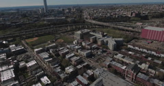 Jersey City Aerials Flying Over Warehouses Moving Towards Inland NJ - stock footage