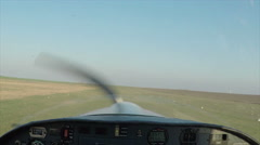 Point of view of a small airplane flying at sunset Stock Footage