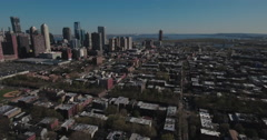 Jersey City Aerials Flying Towards High Rises Stock Footage