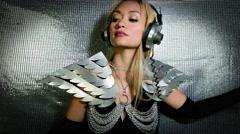 Silver sexy babe gogo dancer diva party disco woman 4k Stock Footage