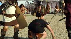 Gladiator slave prisoner fight Stock Footage