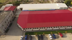Aerial view over warehouse deposit - stock footage