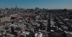 Hoboken NJ Flyover Buildings With Downtown Manhattan In Shot Stock Footage