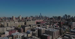 Hoboken NJ Flyover Buildings Towards One World Trade Center Stock Footage