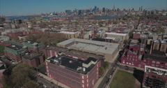 Hoboken NJ Panning Right View Of Buildings With Manhattan In Background Stock Footage