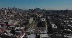 Hoboken NJ Panning Left View Of High Rises With Manhattan In Sight - stock footage