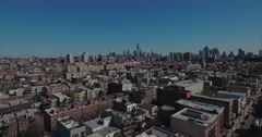 Hoboken NJ Aerial Flyover Buildings Headed Towards Downtown Manhattan Stock Footage