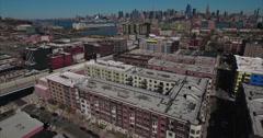 Hoboken NJ Aerial View Over Old Looking Buildings Stock Footage