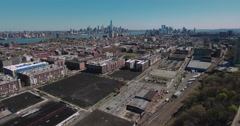 Hoboken NJ Aerial Flyover Empty Lot Stock Footage