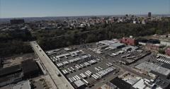 Hoboken NJ Flyover Parking Lot Moving Towards Apartment Buildings Stock Footage