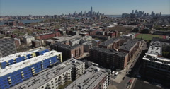 Hoboken NJ Flyover Of Apartment Buildings Towards Hudson River Stock Footage