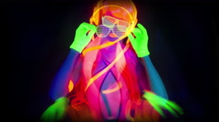 Glow uv neon sexy disco female man cyber doll robot electronic toy Stock Footage