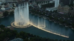 Fountain show from an aerial view, Las Vegas, USA Stock Footage