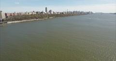 Upper West Side Fly Backwards Shot Over The Hudson River Stock Footage