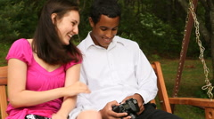 Mixed Couple Spending Time Together Outdoors Stock Footage