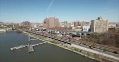Morningside Heights & Harlem Flyover Henry Hudson Parkway With Dock In Shot Stock Footage