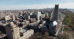 Morningside Heights Aerial Fly Backwards View Of the Riverside Church Stock Footage