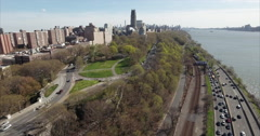 Morningside Heights Aerial Flyover Traffic On Henry Hudson Parkway Stock Footage