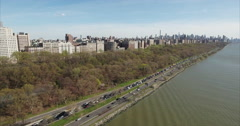 Morningside Heights & Harlem Aerial Panning View From Hudson River Stock Footage