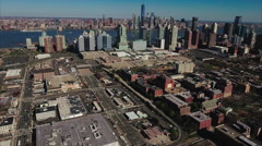 Jersey City Aerial Stationary Time lapse With Manhattan In Background Stock Footage