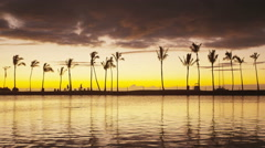 Paradise beach sunset or sunrise with tropical palm trees - colorful sky - stock footage