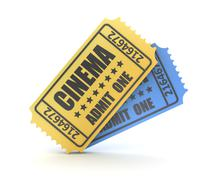 3d render of two cinema ticket - stock illustration