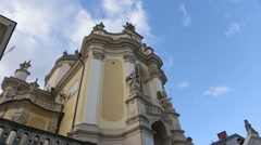 The view of catholic cathedral church in Ukraine on panoramic view Stock Footage