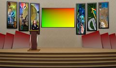 Tricaster Psd TV Studio Set for Education - PSD template