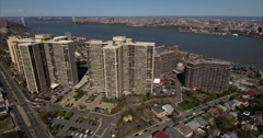 Cliffside Park NJ Ascension To Overhead Shot Of Apartment Buildings & Homes Stock Footage