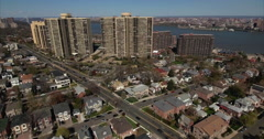 Cliffside Park NJ Flying Over Intersect Towards Apartment Complexes Stock Footage