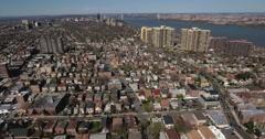 Cliffside Park NJ Flying Over Homes Towards Apartment Buildings Stock Footage