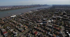 Cliffside Park NJ Aerial Flyover Of Homes With Manhattan In Background Stock Footage