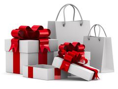 White gift boxes. Isolated 3D image Stock Illustration