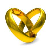 Two gold wedding rings. Isolated 3D  image Stock Illustration