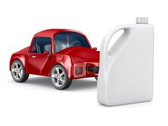 Red car and oil canister on white background. Isolated 3D image - stock illustration
