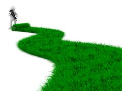 Road from grass on white. Isolated 3D image Stock Illustration