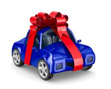 Car in gift packing. Isolated 3D image Stock Illustration