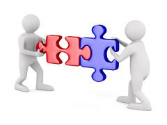 Two man with puzzle on white background. Isolated 3D image Stock Illustration
