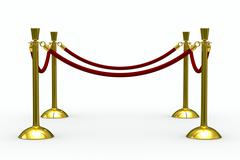 Gold stanchions on white background. Isolated 3D image - stock illustration