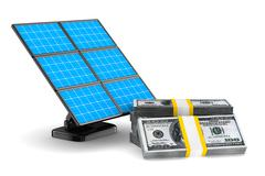 Solar battery and cash on white background. Isolated 3d image Stock Illustration