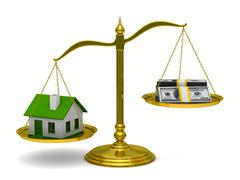 House and money on scales. Isolated 3D image - stock illustration