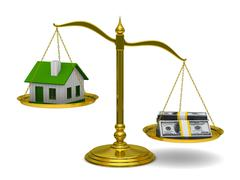 House and money on scales. Isolated 3D image Stock Illustration
