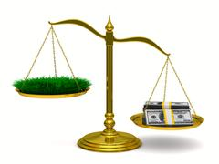 Grass and money on scales. Isolated 3D image - stock illustration