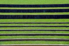 Grassy levels in outdoor amphitheater Stock Photos