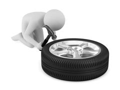 Man repairs wheel. Isolated 3D image Stock Illustration