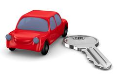 Red car and key on white background. Isolated 3D image Stock Illustration