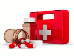First aid kit on white background. Isolated 3D image - stock illustration