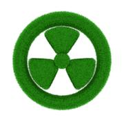 radiation symbol from grass. Isolated 3D image - stock illustration