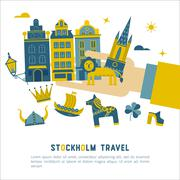 Stockholm travel vector card - stock illustration