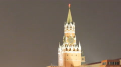 Panorama of red square from the walking tourists, at night, in the rain, Moscow Stock Footage